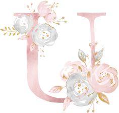 U Flower Alphabet, Flower Letters, Alphabet Design, Monogram Alphabet, Watercolor Lettering, Floral Watercolor, Alphabet Wallpaper, Fancy Fonts, Creative Lettering