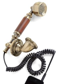 Ringing Endorsement Phone Handset I have never needed a retro-future item more painfully. Iphone Charger, Iphone Cases, Steampunk, Vintage Phones, Golden Ring, Gadgets And Gizmos, Desk Accessories, Iphone Accessories, Modcloth