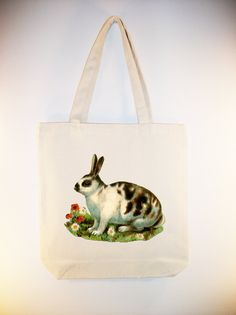 Vintage Spotted Bunny Rabbit illustration by Whimsybags on Etsy