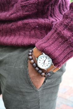 Turtleneck Sweater by H – Corduroy Trousers watch #man #fashion #lifestyle