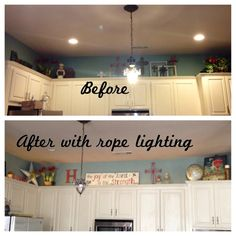 Rope Lighting Above The Kitchen Cabinets