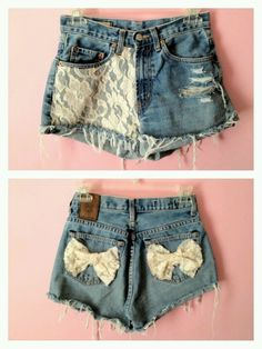 DIY lace shorts with bow!!! Love the bow on the back!