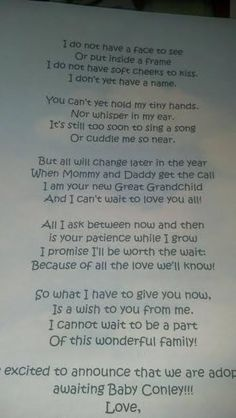 Lovely poem announcing an #adoption.