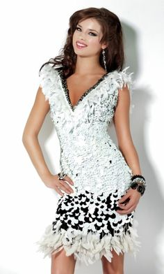 V-neck Short/Mini Feathers/Fur Sleeveless Feather Prom Dress PD3B03