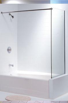 Shower curtain rod on glass wall Bath Shower Combination, Tub Shower Combo, Shower Rod, Bathtub Shower, Bathtub Ideas, Bathroom Ideas, Bathtub Glass Panel, Bathtub Walls, Bathroom Flooring