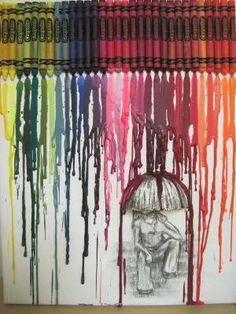 Van waskrijtjes dit mooie schilderij maken