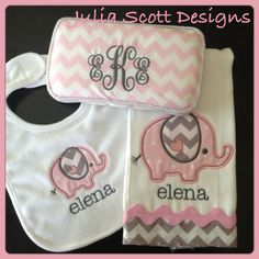 Pink and Gray Elephant Set - Wipe case, bib, burp cloth Baby Girl Elephant, Grey Elephant, Elephant Room, Wipes Case, Everything Baby, New Baby Gifts, Baby Decor, Trendy Baby, Burp Cloths