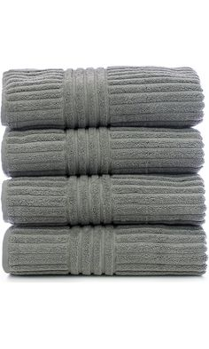 Bare Cotton Luxury Hotel & Spa Towel Turkish Cotton Towel Set Bath Towel, Striped, Gray, Set of 4 Best Price