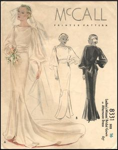 bridal gown or afternoon dress pattern – McCall 8331 – Charlotte C. bridal gown or afternoon dress pattern – McCall 8331 bridal gown or afternoon dress pattern – McCall 8331 Vintage Vogue, Vintage Fashion, 1930s Fashion, Edwardian Fashion, Gothic Fashion, Ladies Fashion, Vintage Outfits, Vintage Dresses, Look Gatsby
