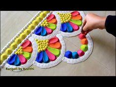 Top diwali rangoli designs with colours l diwali rangoli 2019 l thoran rangoli design using spoon Easy Rangoli Designs Diwali, Rangoli Simple, Indian Rangoli Designs, Simple Rangoli Designs Images, Rangoli Designs Latest, Rangoli Designs Flower, Free Hand Rangoli Design, Rangoli Border Designs, Small Rangoli Design