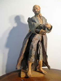 NEAPOLITAN Bearded Male Painted Terracotta And Wood CRECHE Figure