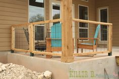 How to Build a Modern Porch Railing. Actually, I would like to use this for part of a fence as well, as this would be perfect for  grapes or other 'vine' veggies to grow on! :)
