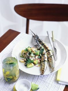 Lychee, passionfruit and mint muddle (shown with garfish with white bean, avocado and chipotle chilli salad)
