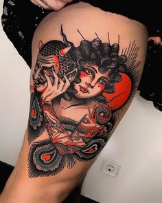 Traditional tattoo by Pablo Lillo - Tattoo artist Pablo Lillo, color traditional tattoo Badass Tattoos, Leg Tattoos, Body Art Tattoos, Old School Tattoo Motive, 42 Tattoo, Tattoo Thigh, Tattoo Fairy, Tatuagem Old Scholl, Traditional Tattoo Art