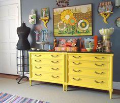 Bright Yellow Dresser