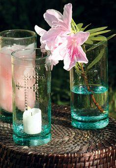 Set of 6 Rustic Glass Candleholder Vase Or Drinkware With Cross Deta