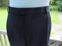 Kirkland  Men's 100 % Italian Wool Pleated Front Dress Slacks 38 X 34 Navy Blue #KirklandSignature #DressPleat