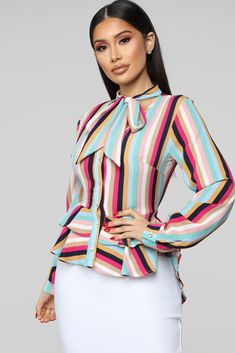 Kaia Top - Multi Color Available in Multi Color High-Low Top Button Down Long Sleeve Ruffle Trim Tie Collar Polyester Spandex Made in USA African Fashion Dresses, Fashion Outfits, High Low Shirt, Fashion Nova Models, Sweater And Shorts, Girls Pants, White Fashion, Cut And Style, Get The Look