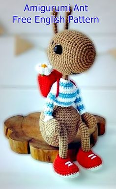 Hardworking ant and his Best Amigurumi Animal Pattern Ideas. Hardworking ant and his bag. Amigurumi toy ant with bag and red shoes. Easy amigurumi ideas for beginners here. Amigurumi Toys, Crochet Patterns Amigurumi, Crochet Dolls, Crochet Hair, Crocheted Toys, Easy Knitting Projects, Crochet Projects, Sewing Projects, Crochet Design