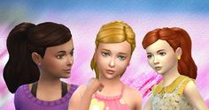 The Sims 4 | My Stuff: GP02 Spa Day Ponytail Curled Hairstyle Converted for Girls | hairs for female child