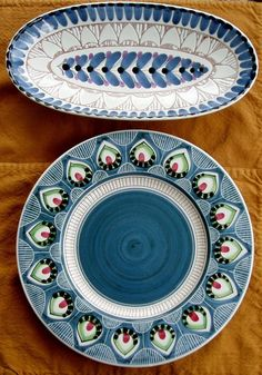 "2 Midcentury Modern Pottery Elle Studios Norway 12"" Plate 14"" Oval Tray Intaglio   eBay"