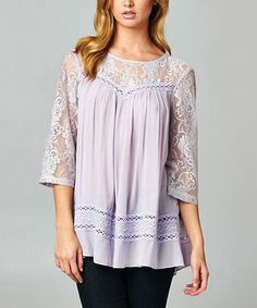 Lavender Sheer Lace Contrast Three-Quarter Sleeve Top by Esley Collection #zulily #zulilyfinds