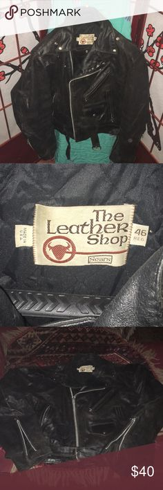 Vintage biker jacket Rough and ready leather biker jacket size 46 reg Men or woman s  the leather is a bit dry needs some TLC the leather shop an off shot of sears Jackets & Coats Bomber & Varsity