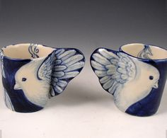 Porcelain bird cup pair in blue and white by PSPorcelain on Etsy