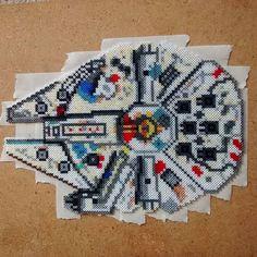 Millennium Falcon in Hama beads by clockworkdragonfly. #starwars…