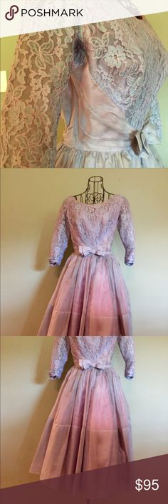 Vintage Formal Dress, 1950's This is an absolutely stunning formal dress from the 1950's. It's a gorgeous periwinkle color with exquisite lace detail. It has an attached crinoline, but you could also add your own to make it fuller. I'd love to know the story it holds! ***It definitely needs to be dry cleaned before wearing. There are a few spots that can easily be removed. (I do not dry clean my items that require it prior to selling because many buyers have strong laundering…