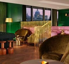 "Dandelyan, Mondrian Hotel (SE1) The gaudy pink-and-green furniture here is a great fist-shaking show of defiance, a determined ""look here, you!"" Fun and ostentatious and not hotel-y. The cocktails are bold, summery and exotic, too. Plus it's right on the Thames, so you can watch those London River Buses bobbing by and mumble something hollow about ""Boris' legacy"".  Average room cost per night: £149"