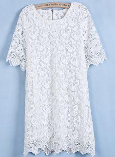 White Round Neck Short Sleeve Loose Lace Dress - Sheinside.com