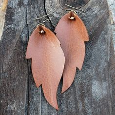 Leather Earrings | Boho Feather Earrings | Rustic Earrings | Distressed Leather | Large Light Brown