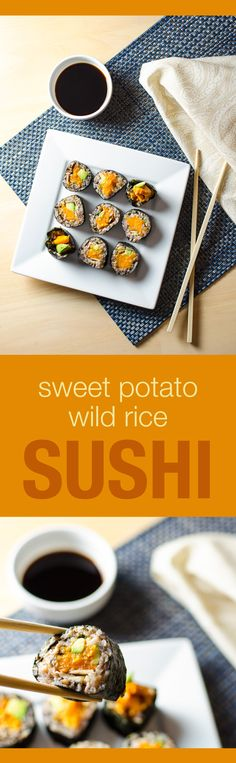 Sweet Potato Sushi Rolls with wild rice and cinnamon - recipe makes a delicious vegan and gluten free appetizer or main meal Sushi Recipes, Raw Food Recipes, Vegetarian Recipes, Cooking Recipes, Sweet Potato Sushi Roll, Sweet Potato Recipes, Gluten Free Appetizers, Vegan Sushi, Cinnamon Recipes