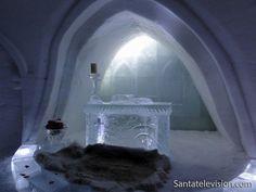 Luvattumaa Ice chapel in Levi in Lapland