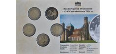 2 euro coin sets are becoming super popular worldwide. This set is mounted in a card. The 2014 St Michael's Church set with all 5 of the German mint marks. Michael Church, St Michael, German Coins, Euro Coins, Soft Plastic, Kirchen, The Past, Germany, Stamps