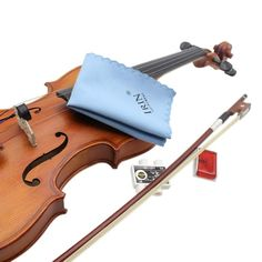 5-in-1 Violin Accessory Set Kit with Round Violin Mute Rosin Polish Cloth Pitch Pipe Fine Tuner for 3/4 4/4 Violin
