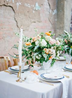 La Tavola Fine Linen Rental: Topaz Fog with Tuscany White Napkins | Photography: Kate Pease, Planning: Grit + Gold, Florals: Root + Bloom, Paper Goods: Pink Champagne Paper, Venue: 411 in FW, Tabletop: Pretty Little Plate, Furniture Rentals: Bleu Luxury Rentals