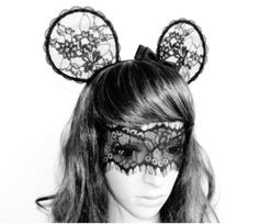 fashion inspired black ffrench lace mickey mouse ear wave bow hairband headband Alice In Wonderland Lolita Gaga on Etsy, $55.95