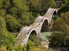 In the region of Epirus in Greece, in a particularly rugged mountainous area of infinite beauty, there are many stone bridges like this. The area is famous for its exceptional stone craftsmen. Places In Greece, Greece Photography, George Washington Bridge, Create Image, Love Painting, Nature Photos, Photo Galleries, Photo Editing, Beautiful Places
