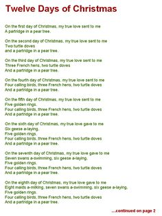 twelve days of christmas lyrics page one - Christmas In Our Hearts Lyrics
