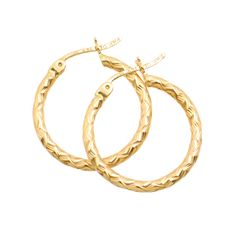 925 Silver Gold-tone Polished /& Textured Patterned Hoop Earrings 5mm x 19mm