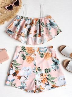 Light Pink Summer Floral Flat Zipper High Sleeveless Spaghetti Regular Cute Beach Ruffle Cami Top and Shorts Two Piece Set Summer Outfits For Teens, Kids Outfits Girls, Cute Girl Outfits, Girls Fashion Clothes, Summer Fashion Outfits, Cute Outfits For Kids, Teenager Outfits, Cute Casual Outfits, Pretty Outfits