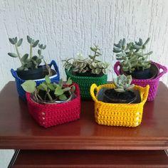 Artesanato com amor...by Lu Guimarães: Aprenda a fazer cachepôs em crochê #reciclarepreci...