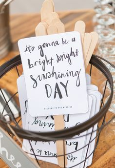 Adorable fans crafted by the bride, personalized message, keeps guests cool // Adam Barnes Fine Art Photography