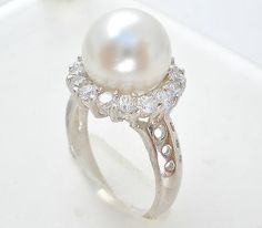 Sterling Silver Pearl Ring, Size 5.5, Cubic Zirconias, Fashion Jewelry, Musi
