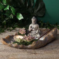 Zen Garden Kit with Buddha Statue Oval Tabletop candleholder meditation fengshui Meditation Corner, Meditation Cushion, Meditation Space, Feel Better Gifts, Mini Zen Garden, Tabletop, Fairy Garden Houses, Statue, Tea Light Candles