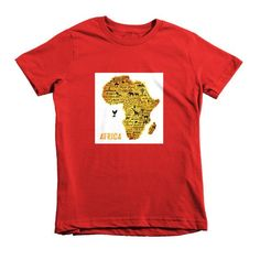 Golden Africa Short sleeve kids t-shirt $24.50 #AfricanPrint #T-SHIRT #AFRICANROOTSSHOP #Africa #Red #t-shirt #Kids