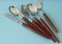 25% off Sale- Vintage Teak & Stainless Steel Holland Flatware/Mix of 6 Pieces / Modern Dutch Scandinavian Silverware Utensils/Teak Cutlery
