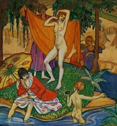 The bathers, (circa by Thea Proctor Australian Artists, Flower Show, Silk Painting, Art Boards, Art History, Mythology, Art Gallery, Illustration Art, Portrait